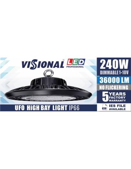 LED Освещение для складов, сервисов, спорт-залов  HIGH BAY UFO - 240W  / DIMMABLE 1-10V  / 36000lm / 4000K / VISIONAL Profession
