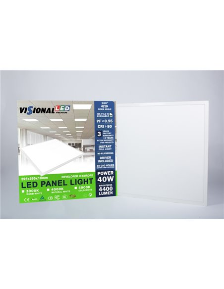 LED Panel 40W 4400 lumen with power supply unit VISIONAL / LED light panel 40W (3000K) 60x60cm / 600ммx600мм (not blinking) Brig