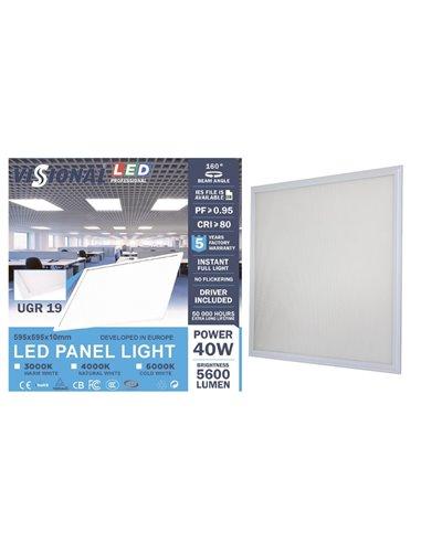 LED Светодиодная Панель UGR19 40W 5600 Lumen с блоком питания VISIONAL / LED Панель 40W 4000K / 60x60cm / 600x600мм (не моргает)