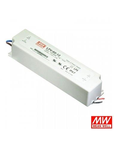 LED Power Supply 12V / LED Transformer 12V 60W / 5A MEAN WELL LPV-60-12