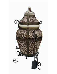 Ceramic stove - tandirs Asia DARK BROWN 100 liters. Gift - Decorative ceramic tile - tray / 12 skewers / meat hook