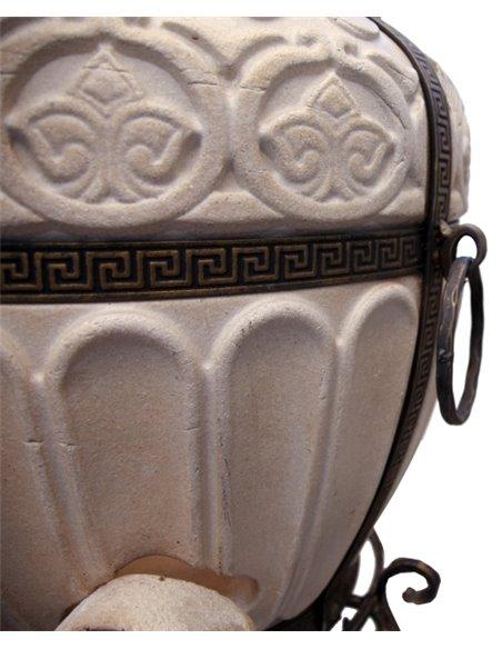 Ceramic stove - tandirs GRAND DARK BROWN Gift - Decorative ceramic tile - tray / 12 skewers / meat hook / grid a