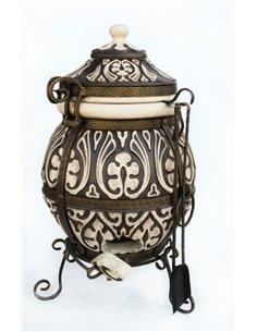 Ceramic stove - tandirs ATTIKA DARK BROWN 85 liters. Gift - Decorative ceramic tile - tray / 12 skewers / meat hook