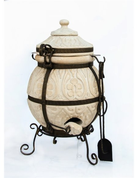 Ceramic stove - tandirs ATTIKA DARK BROWN 85 liters. Gift - Decorative ceramic tile - tray / 12 skewers / meat hook