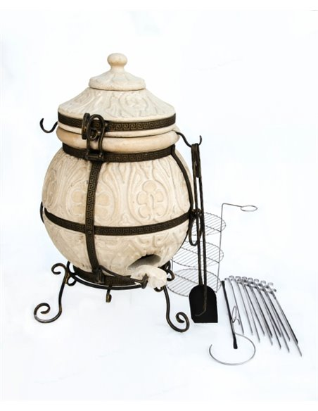 Печь керамическая - Тандыр АТТИКА DARK BROWN  85 литров. В подарок - Декоративная керамическая плитка - подставка  / 12 шампуров