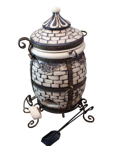Акция! Тандыр КИРПИЧ  WHITE (60 литров)! В подарок - Декоративная керамическая плитка - подставка  / 8 шампуров / 1 решетка на 2