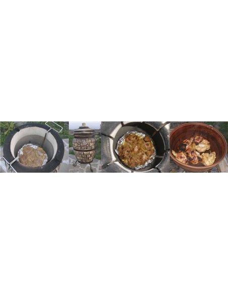 Ceramic stove - tandirs LATVIA 50 liters. Gift - Decorative ceramic tile - tray / 4 skewers / 1 skewer / Mang