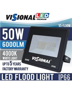 SUPER SALE / VISIONAL PREMIUM LED Outdoor Floodlight 50W / 6000lm / 4000k - 840 / Black / 120 ° / IP66 (Moisture Resistant)