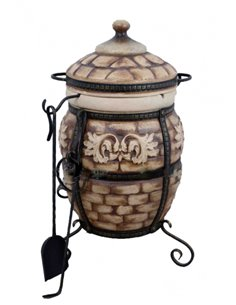 Ceramic stove - tandirs VENICE BROWN 50 liters. Gift - Decorative ceramic tile - tray / 6 skewers / 1 skewer holder
