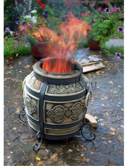 Ceramic stove - tandirs VENICE BROWN 50 liters. Gift - Decorative ceramic tile - tray / 6 skewers / 1 skewer holder
