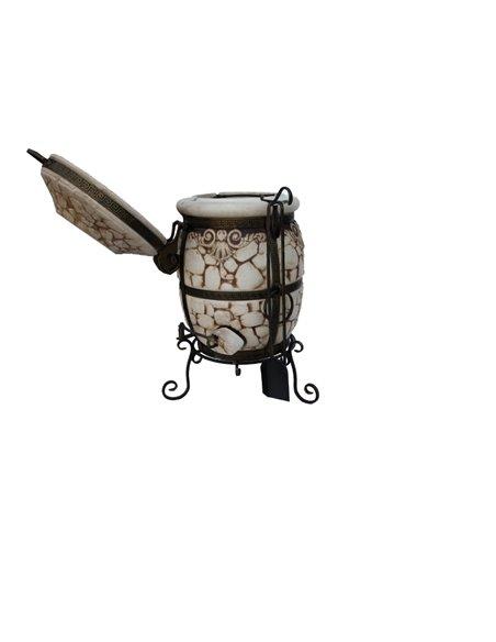 Ceramic stove - tandirs STONE DARK BROWN 60 liters. Gift - Decorative ceramic tile - tray / 8 skewers / grid with 2 l