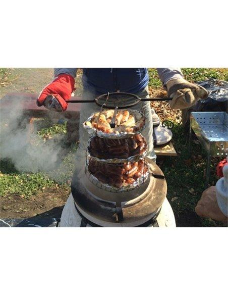 """Печь керамическая - Тандыр  """"Камень"""" DARK BROWN 60 литров. В подарок - Декоративная керамическая плитка - подставка  / 8 шампуро"""