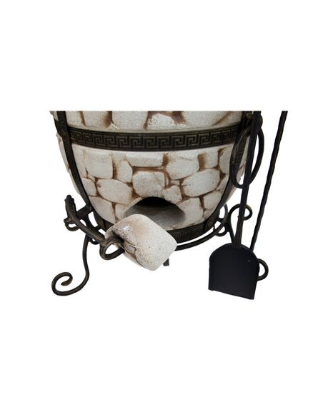 Ceramic stove - tandirs AKMENS WHITE 60 liters. Gift - Decorative ceramic tile - tray / 8 skewers / grid with 2 levels