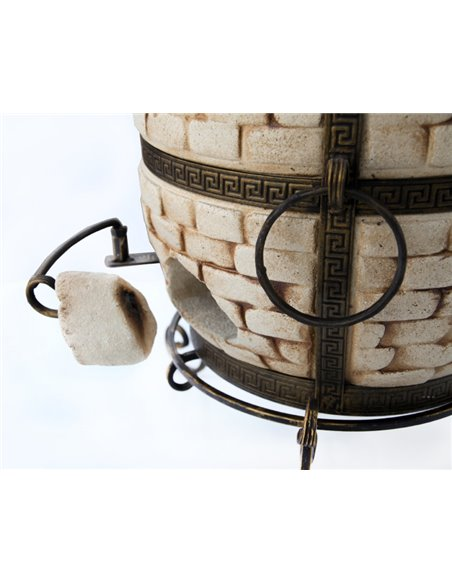 Sale! Tandirs CHEESE DARK BROWN (60 liters)! Gift - Decorative ceramic tile - tray / 8 skewers / grid with 2 levels