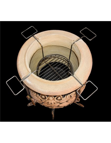 Акция! Тандыр КИРПИЧ DARK BROWN  (60 литров)! В подарок - Декоративная керамическая плитка - подставка  / 8 шампуров / 1 решетка
