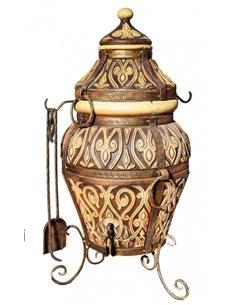Печь керамическая - Тандыр АЗИЯ BROWN  100 литров.  В подарок - Декоративная керамическая плитка - подставка  / 12 шампуров /  1