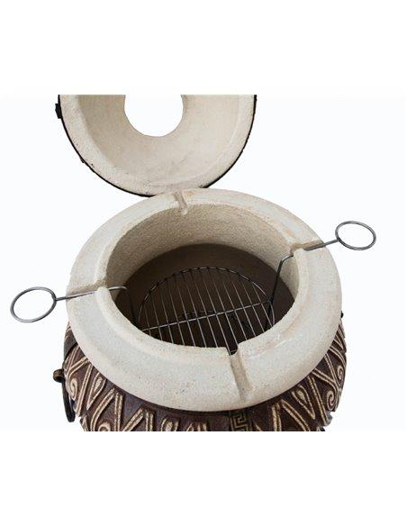 Ceramic stove - tandirs ASIAN BROWN 100 liters. Gift - Decorative ceramic tile - tray / 12 skewers / meat hook / dir