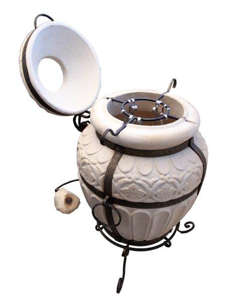 Печь керамическая - Тандыр ГРЕЧЕСКИЙ BROWN. В подарок - Декоративная керамическая плитка - подставка / 12 шампуров / Крюк для мя