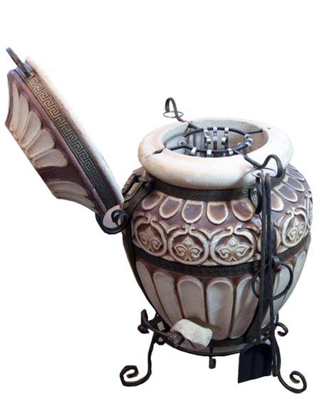 Ceramic Furnace - tandirs GRUKU BROWN Gift - Decorative ceramic tile - tray / 12 skewers / meat hook / grid with 3 l