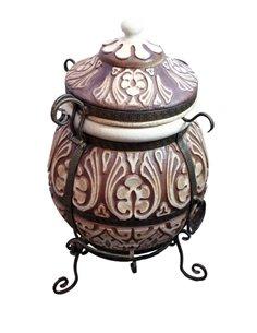 Печь керамическая - Тандыр АТТИКА BROWN  85 литров. В подарок - Декоративная керамическая плитка - подставка  / 12 шампуров / Кр