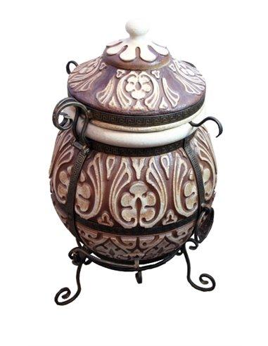 Ceramic stove - tandirs ATTIKA BROWN 85 liters. Gift - Decorative ceramic tile - tray / 12 skewers / meat hook / r