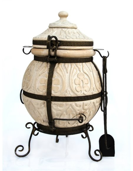 Ceramic stove - tandirs ATTIKA BROWN 85 liters. Gift - Decorative ceramic tile - tray / 12 skewers / meat hook / r