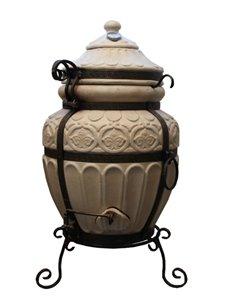 Печь керамическая - Тандыр ГРЕЧЕСКИЙ  WHITE. В подарок - Декоративная керамическая плитка - подставка / 12 шампуров / Крюк для м