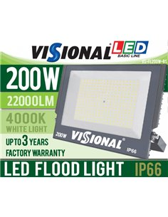 LED Outdoor Floodlight Visional Basic Line 200W / 22000LM / 4000K / IP66 / Product available for pre-booking