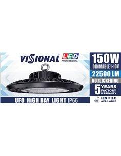 LED Освещение для складов, сервисов, спорт-залов  HIGH BAY UFO - 150W  / DIMMABLE 1-10V  /22500lm / 4000K / VISIONAL Professiona